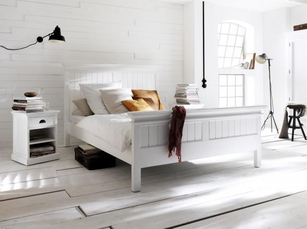 Bett Weiß 200x220cm Mahagoniholz Massiv
