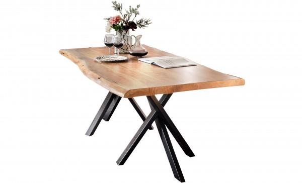 Massivholz Tisch Baumkante Natur Gestell Antikschwarz 90x180cm