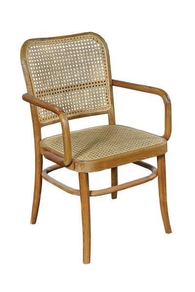 Armlehnstuhl aus Rattan und Teak 86x52x58cm