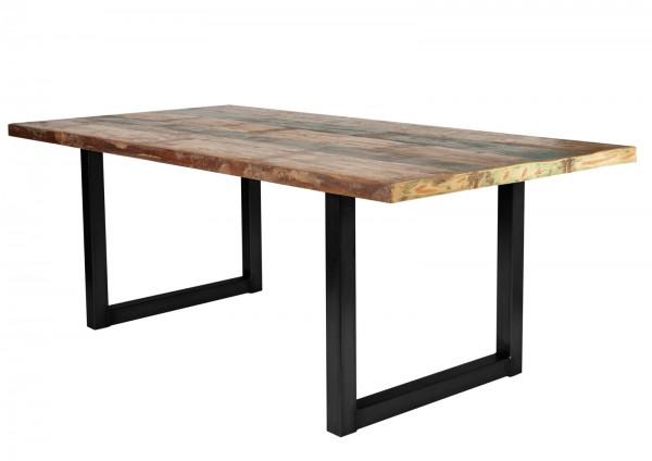 Tisch 100x220cm Altholz Bunt Antikschwarz