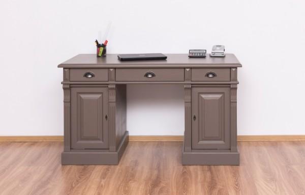 Schreibtisch Grau Kiefernholz massiv 140x78x70cm