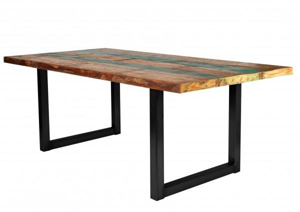 Tisch Altholz Bunt Gestell Antikschwarz 85x160cm