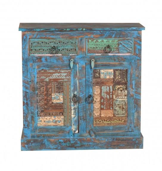 Kommode Blau 90x85x40cm Vintage Möbel massiv
