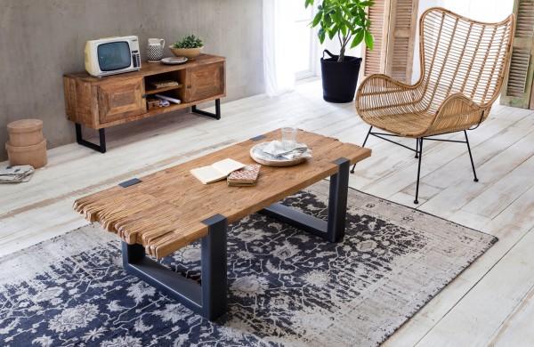 Couchtisch 130x46x60cm Holz Möbel Massiv Antikfinish