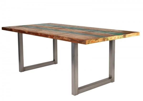Tisch 100x240cm Altholz Bunt Antiksilber