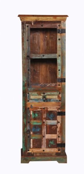 Vintage Massivholz Vitrine 60x178x45cm