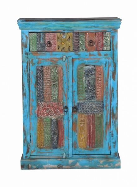 Kommode Blau Vintage Möbel Massiv 82x120x40cm
