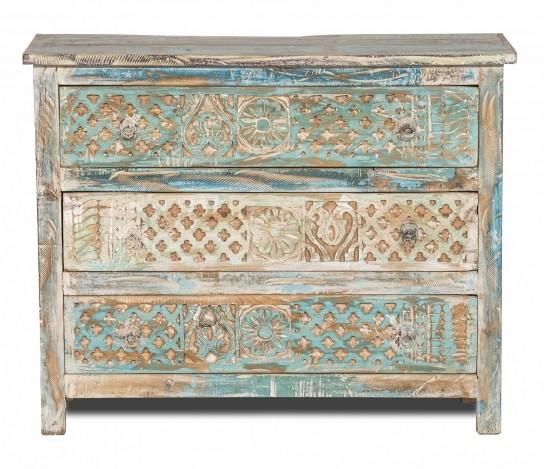 Shabby Chic Vintage Möbel Kommode 100x80x35cm Massiv