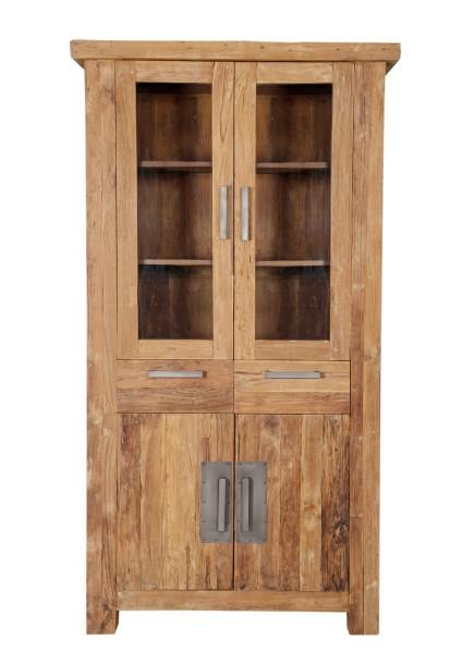 Teakholz Möbel Vitrine 105x200x45cm Massiv