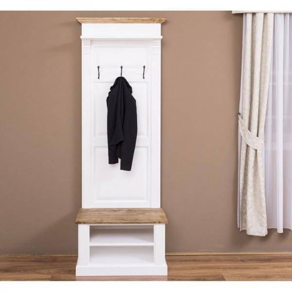 Garderobe Weiß Kiefernholz Massiv 80x210x41cm