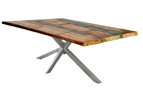 Tisch 85x160cm Altholz Bunt Antiksilber