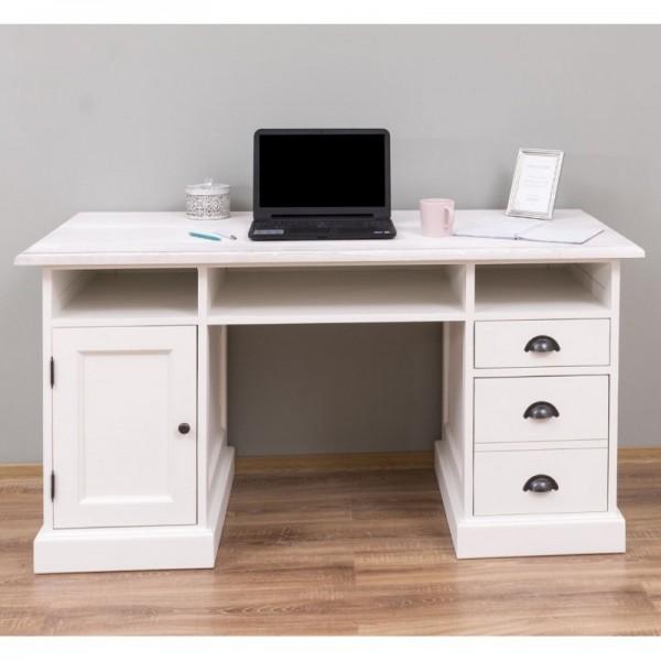 Schreibtisch Weiß Kiefernholz Massiv 152x78x70cm