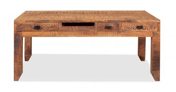 Vintage Massivholz Couchtisch Mangoholz 110x45x60cm