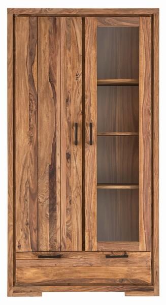 Massivholz Vitrine Brotschrank 105x200x45cm Sheeshamholz