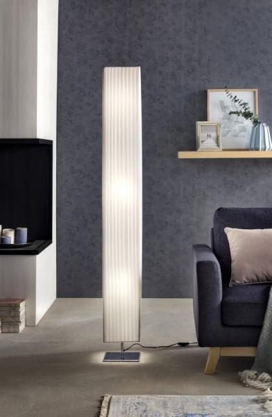 Stehlampe Plissee 160 cm eckig weiß, chrom