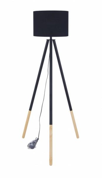 Stehleuchte Schwarz Gestell Massivholz 65x154x65cm
