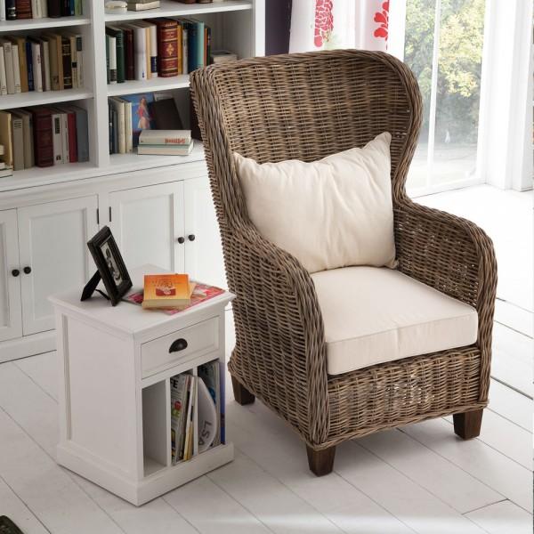 Rattan Armlehnstuhl mit Sitz- und Rückenkissen 66x121x68cm Massiv