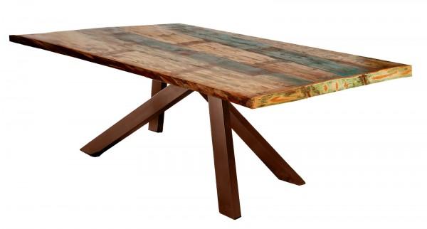 Tisch 100x220cm Altholz Bunt Antikbraun