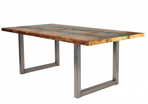 Tisch Altholz Bunt Gestell Antiksilber 85x160cm