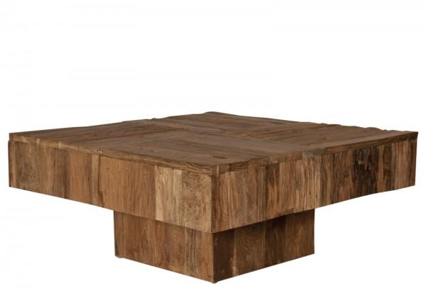 Massivholz Couchtisch Natur 80x35x80cm recyceltes Teak