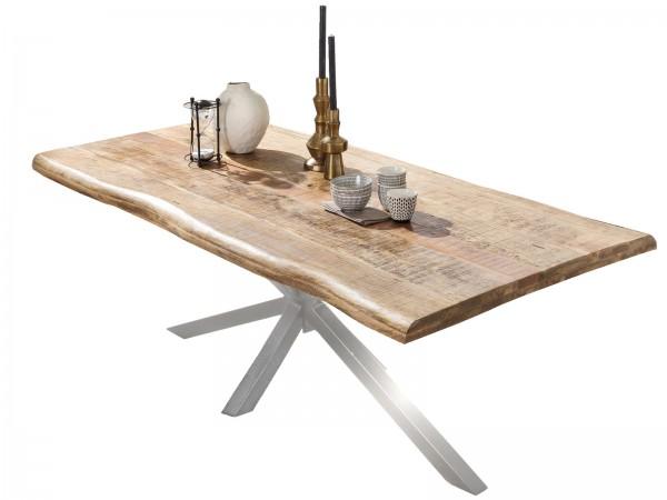 Tisch 90x160cm Mangoholz Natur Antiksilber