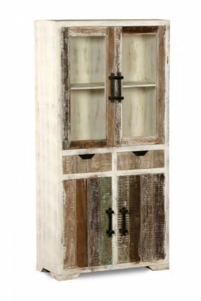 Shabby Chic Mobel Vitrine 85x175x40cm Massiv Vitrinen Mobel