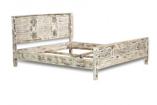 Shabby Chic Möbel Vintage Bett 140x200cm Massiv