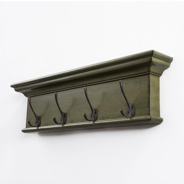 Garderoben-Brett Grün-Schwarz 70x20x10cm Mahagoni Massiv