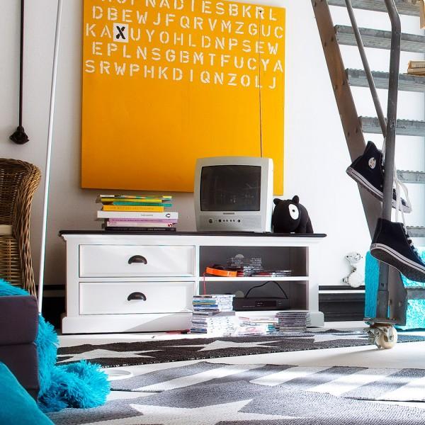 TV Lowboard Weiß 120x45x45cm Massiv