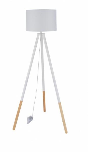 Stehleuchte Weiß Gestell Massivholz 65x154x65cm
