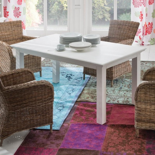 Tisch Weiß 160-200x90cm Massiv