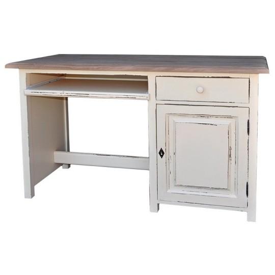 Schreibtisch Weiß Kiefernholz Massiv 130x78x60cm