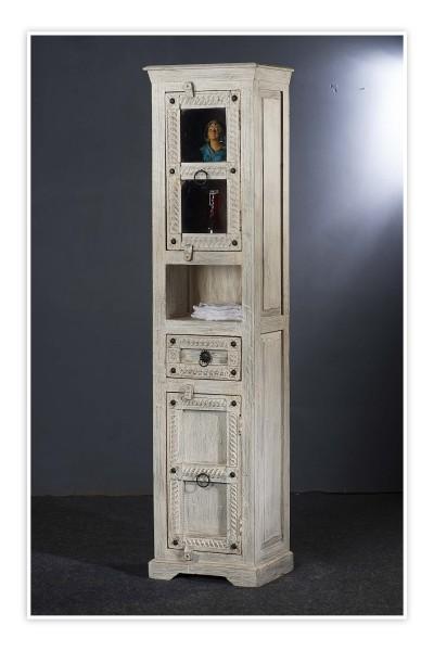 Shabby Chic Möbel Vitrine 44x190x34cm Massiv
