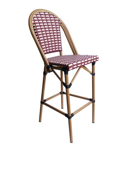 Barhocker in Rattan-Optik beige/rot 55x117x46cm
