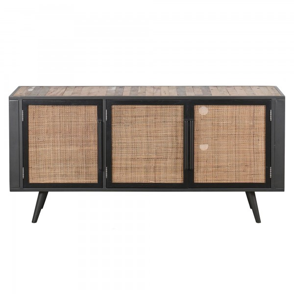 TV Sideboard Natur Bootsholz Rattan & Metall 160x77x45cm Massiv