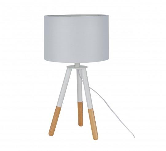 Tischleuchte Weiß Gestell Massivholz 30x55x30cm
