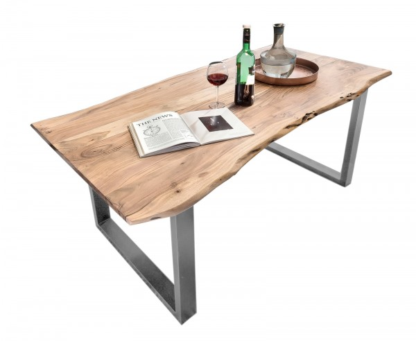 Tisch 90x180cm Akazienholz Natur Antiksilber