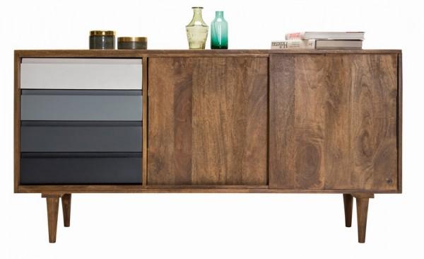 Massivholz Möbel Sideboard 147x75x44cm Mangoholz