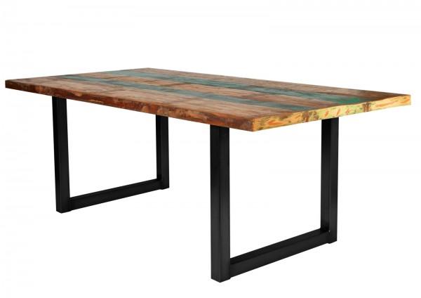 Tisch 100x200cm Altholz Bunt Antikschwarz