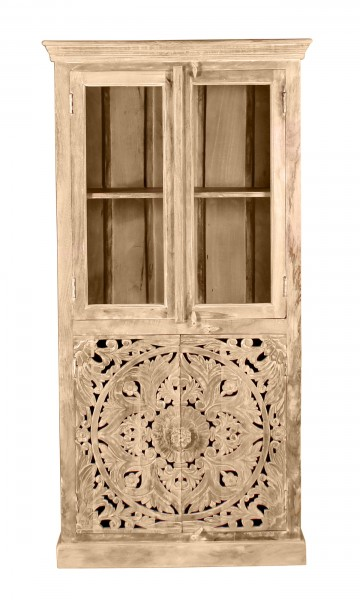 Vintage Massivholz Möbel Vitrine 90x180x45cm