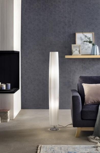 Stehlampe Plissee 120 cm rund weiß, chrom