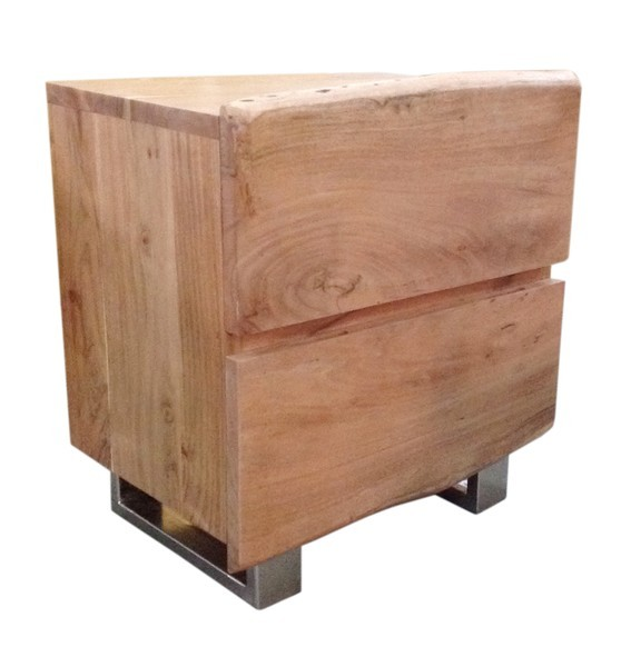 Massivholz Nachttisch Baumkante 50x63x37cm Akazienholz
