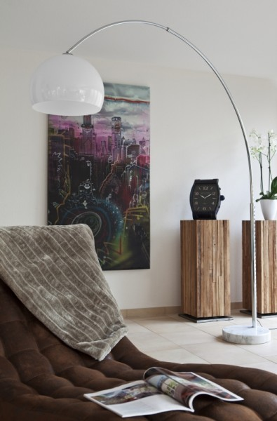 Bogenlampe 230 cm weiß Kunststoff