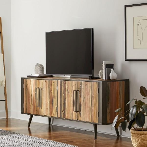 TV Board Sideboard Bootsholz Metall 200x77x45cm Massiv