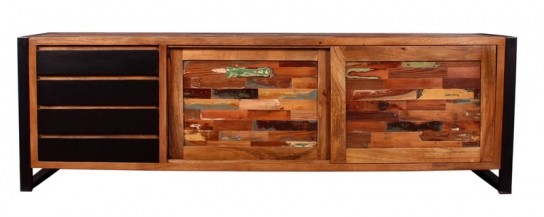Vintage Massivholz Sideboard 200x65x40cm