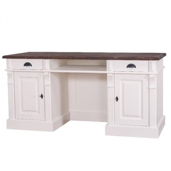 Schreibtisch Weiß, Natur Kiefernholz Massiv 160x78x70cm