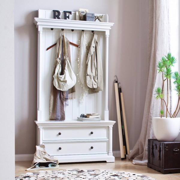 Garderobe Weiß 100x190x40cm Mahagoni Massiv