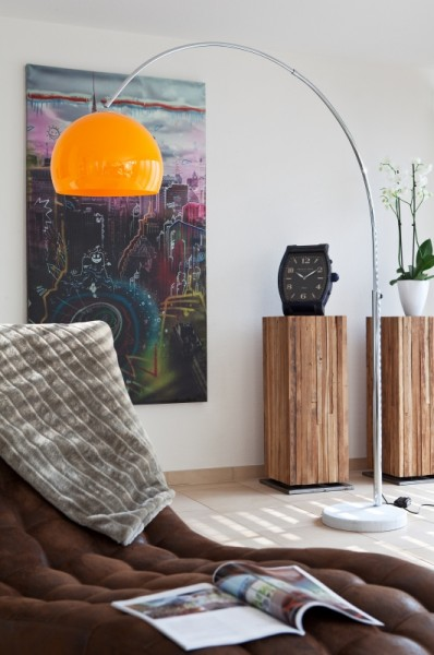 Moderne Bogenlampe 208cm orange