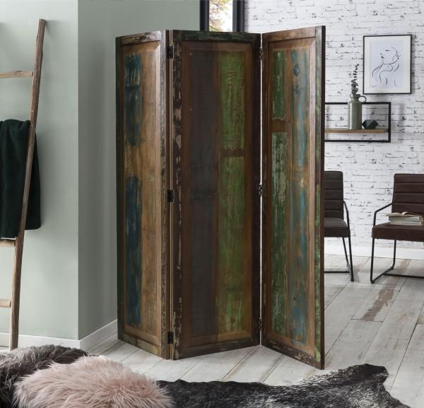 Vintage Massivholz Paravent 3-teilig Bunt 150x170x3cm