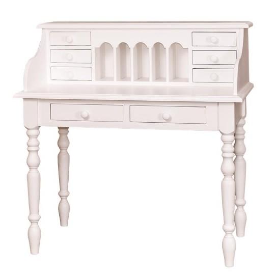 Schreibtisch Weiß Sekretär Massiv 109x110x60cm
